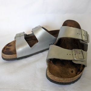 Birkenstock Arizona silver women's sandals size 41